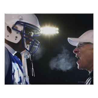 American football player and referee arguing, poster