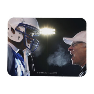 American football player and referee arguing, rectangular photo magnet