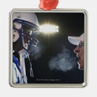 American football player and referee arguing, Silver-Colored square decoration