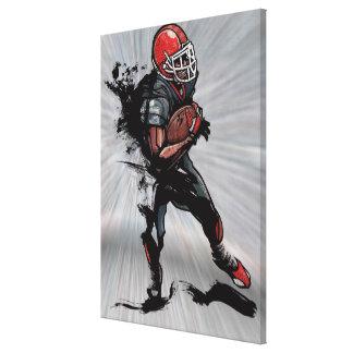 American football player holding football canvas print