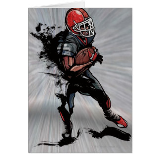 American football player holding football card