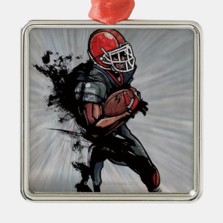 American football player holding football christmas ornaments