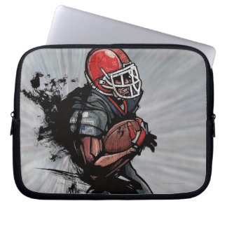 American football player holding football laptop sleeve
