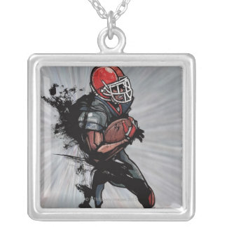 American football player holding football custom jewelry