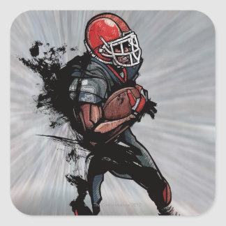 American football player holding football square sticker