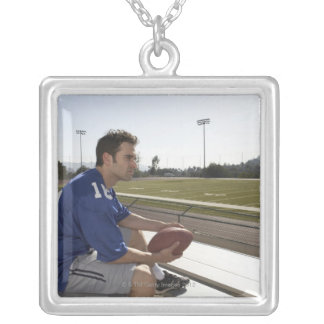 American football player sitting on bleachers custom necklace