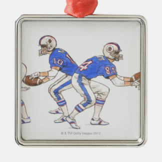 American football players demonstrating moves christmas ornament