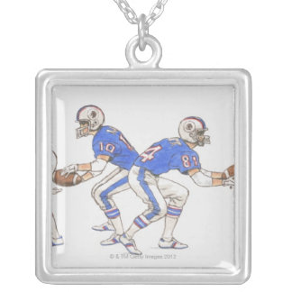 American football players demonstrating moves personalized necklace