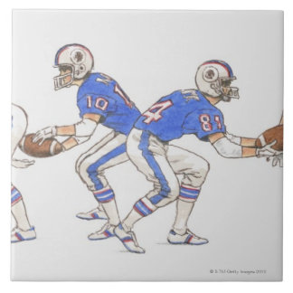 American football players demonstrating moves tile