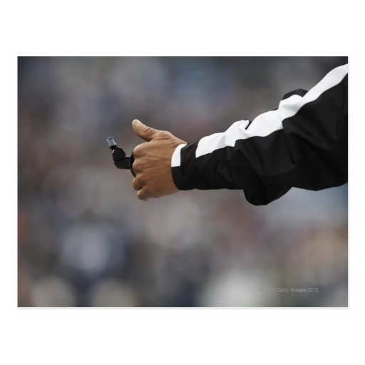 American football referee holding whistle, post cards