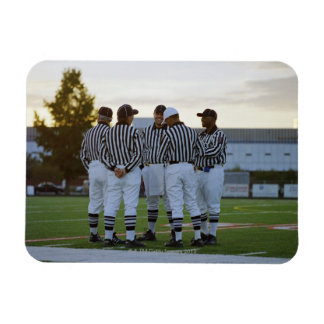 American football referees talking in field rectangular photo magnet