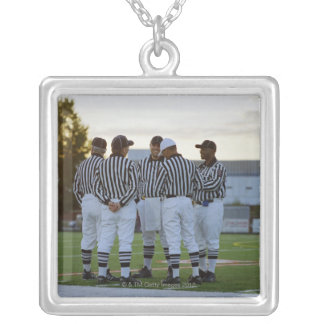 American football referees talking in field silver plated necklace