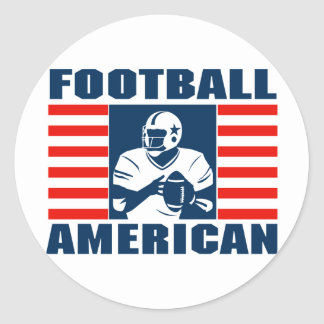 American Football Round Sticker