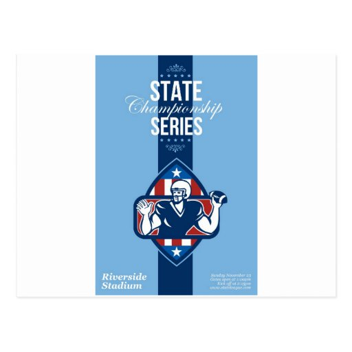 American Football State Championship Series Poster Postcards