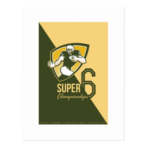 American Football Super 6 Championship Poster Post Cards
