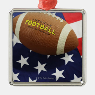 American football with the US flag Silver-Colored Square Decoration