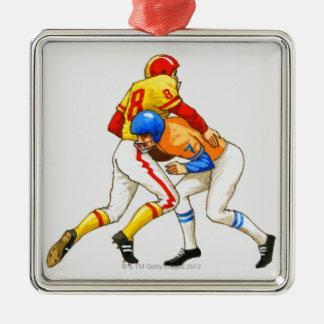 American footballer blocking an opponent christmas ornament
