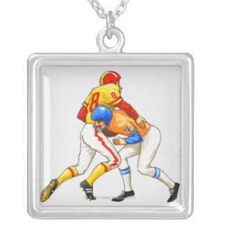 American footballer blocking an opponent silver plated necklace