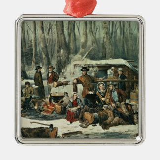 American Forest Scene - Maple Sugaring, 1856 Christmas Ornament