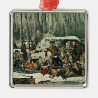 American Forest Scene - Maple Sugaring, 1856 Silver-Colored Square Decoration