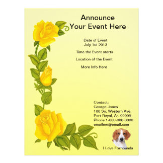 American Foxhound and Yellow Roses Personalized Flyer