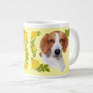 American Foxhound and Yellow Roses Jumbo Mug