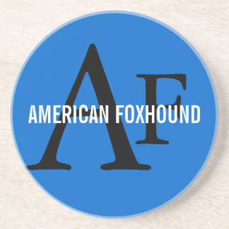 American Foxhound Breed Monogram Sandstone Coaster