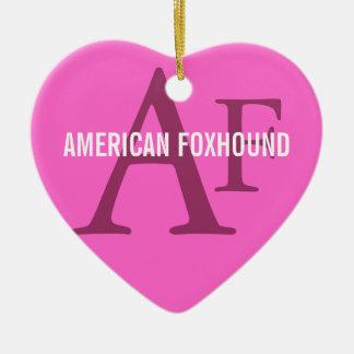 American Foxhound Breed Monogram Ceramic Heart Decoration