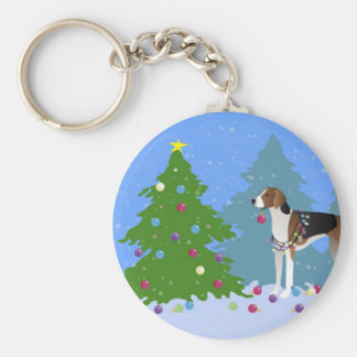 American Foxhound decorating christmas tree-forest Basic Round Button Key Ring