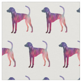 American Foxhound Dog Silhouette Tiled Fabric