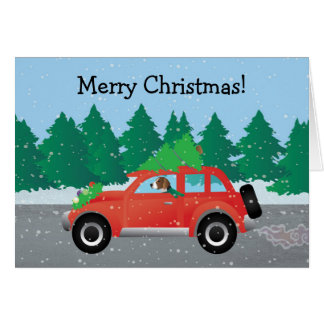 American Foxhound Driving Car with Christmas Tree Card