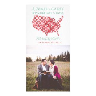 American From Coast to Coast Christmas Photo Card