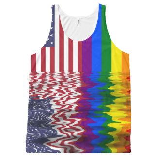 American & Gay Pride Flags All-Over Print Tank Top