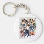 American German Russian Ladies Man Vintage Keychains