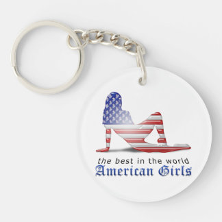 American Girl Silhouette Flag Key Chains
