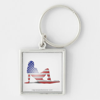 American Girl Silhouette Flag Keychains