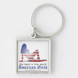 American Girl Silhouette Flag Keychain