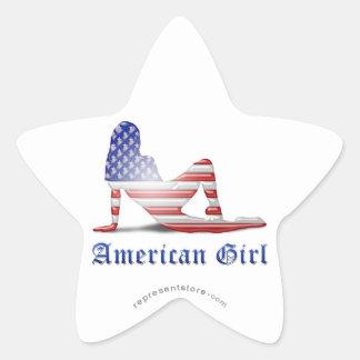 American Girl Silhouette Flag Star Sticker