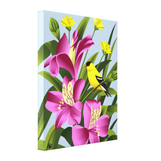American Goldfinch and Alstroemeria  Flower Art Canvas Print