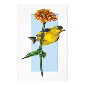 American Goldfinch and Zinnia flower Customised Stationery