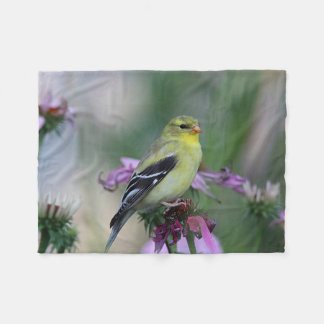 American goldfinch in the garden fleece blanket