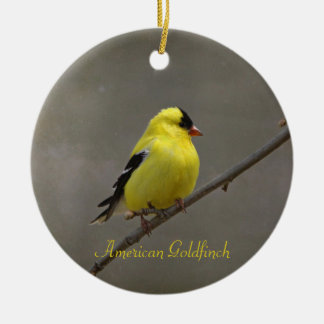 American Goldfinch Photography Round Christmas Ornament