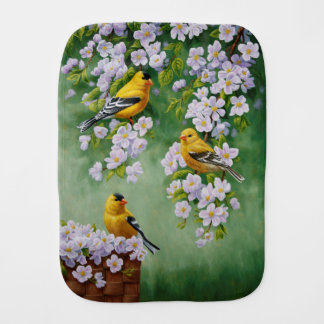 American Goldfinches & Pink Apple Blossoms Baby Burp Cloths