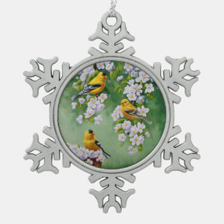 American Goldfinches & Pink Apple Blossoms Pewter Snowflake Decoration
