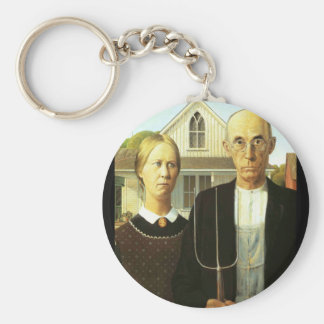 American Gothic Basic Round Button Key Ring