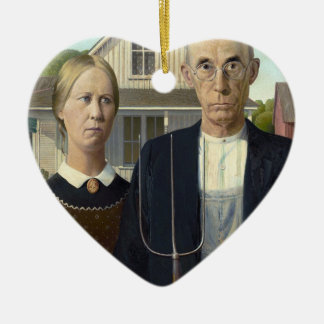 American Gothic by Grant DeVolson Wood Ceramic Heart Decoration