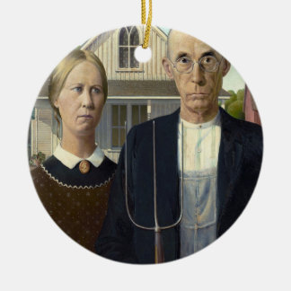 American Gothic by Grant DeVolson Wood Round Ceramic Decoration