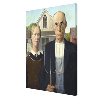 American Gothic by Grant Wood Stretched Canvas Prints