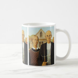 American Gothic by Grant Wood,reproduction art, Basic White Mug