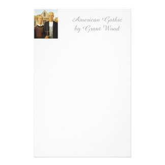 American Gothic by Grant Wood,reproduction art, Stationery